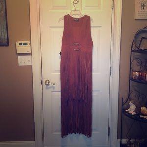 Nasty Gal long leather fringe dress